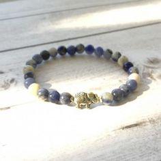 Delicate stretch bracelet with sodalite beads and silver elephant charm. Stretch Bracelets, Beaded Bracelets, Elephant Bracelet, Handmade Jewelry, Jewelry Making, Beads, Silver, Beading, Handmade Jewellery