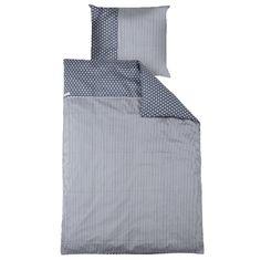 Bettwäsche grau mit weißen Sternen  - Maße: 135 x 200 cm und 80 x 80 cm  - Materail: 100 % Baumwolle  - Maschinenwaschbar bis 30° C
