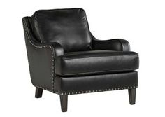 Laylanne Black Faux Leather Accent Chair with Nailhead Trim by Signature Design by Ashley at Lindy's Furniture Company Best Paint For Wood, Ashley Furniture Industries, Diy Chair, At Home Store, Signature Design, Signature Style, Leather Sofa, Leather Chairs, Pu Leather