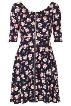 Topshop zip flippy dress