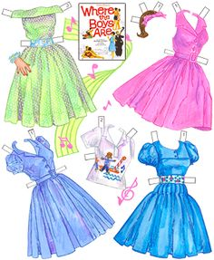 Costumes from Where the Boys Are.  Page 4 of 8 page book. By David Wolfe, Paperdollywood. Available for purchase at paperdollreview.com