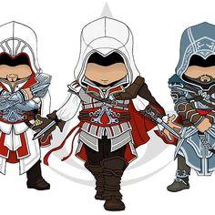 Assassin's Creed: Ezio Auditore Chibi Trio Assessin Creed, Assassins Creed Game, Gamer Setup, Game Concept Art, Dragon Ball Gt, Skyrim, Cartoon Characters, Character Art, Avatar