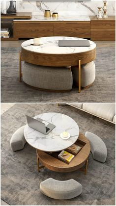 18 stunning coffee tables with built-in storage - Coffee table with three integ. - Library 18 stunning coffee tables with built-in storage – Coffee table with three integrated ottomans. This clever multi-tasking table features a lift-top, p – - Stylish Coffee Table, Diy Coffee Table, Coffee Table With Storage, Coffee Table Design, Design Table, Coffee Coffee, Coffee Table For Bedroom, Coffee Table With Ottomans, Living Room Tables
