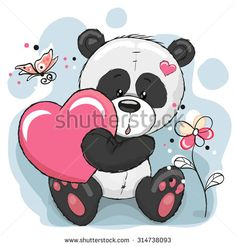 Cute Panda with heart, flowers and butterflies  - stock vector