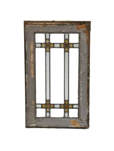 original early 1920's american interior residential chicago prairie school style strongly geometric leaded glass diminutive window - Stained Glass Windows - Products