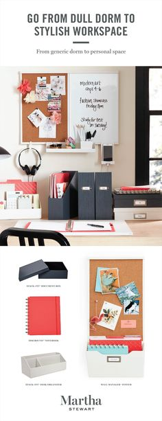 Outfit your college dorm room study area with Martha's new Wall Manager System. Choose from three sizes and a variety of accessories catered to your specific organization and storage needs. Shop the Martha Stewart collection of back to school essentials only at Staples.
