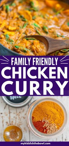 Mild but delicious Chicken Curry for kids, absolutely loaded with vegetables! This family-friendly dinner is super easy to make and healthy! Ready in half an hour!#familydinner #curryrecipes #easydinnerrecipe #easydinner Healthy Family Dinners, Healthy Meals For Kids, Family Meals, Kids Meals, Healthy Recipes, Family Recipes, Curry Spices, Easy Chicken Curry, Yum Yum Chicken