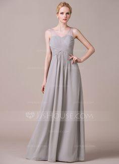A-Line/Princess V-neck Floor-Length Chiffon Tulle Bridesmaid Dress With Ruffle (007059443)