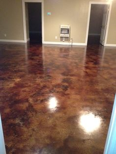 Coffee Brown Acid Stain - Acid staining basement floors is becoming more and more popular finishing option. Acid stained floors are easy to maintain, clean up and add unique character to your home. Concrete Basement Floors, Basement Carpet, Acid Stained Concrete Floors, Basement Walls, Acid Wash Concrete, Cement Stain, Tiled Floors, Concrete Staining, Hardwood Floors