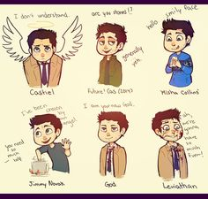I have spent an entire night searching for this picture. Castiel in all versions. Angel, Human, Misha, future, god, and leviathan