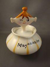 1959 HOLT HOWARD Pixieware Mayonnaise Jar w/ Spoofy Spoon Scarce! Signed