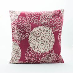 Pillow made of beautiful Embellished Silk Fabric, featuring a geometric circle cluster pattern and a inverse cluster pattern formed by small to large