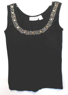 Allyson Whitmore Black Career Tank Top Scoop Neck Embroidery Sequin Trim Size S #AllysonWhitmore #TankCami #Career