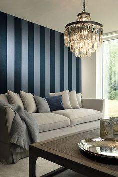 Stripe Velvet and Lin Midnight Blue Midnight Blue, Chandelier, Velvet, Sofa, Ceiling Lights, Beige, Furniture, Turkis, Dyb