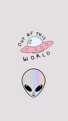 Alien, et, extraterrestrial, out of this world Et Wallpaper, Tumblr Wallpaper, Lock Screen Wallpaper, Iphone Wallpaper, Pastel Wallpaper, Phone Backgrounds, Wallpaper Backgrounds, Ufo, Illustration Mignonne