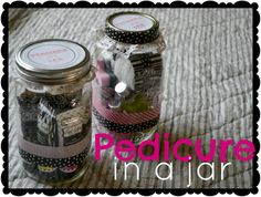 Pedicure in a jar- fun treat for girlfriends or a great bridal shower prize. Craft Gifts, Diy Gifts, Bridal Shower Games Prizes, Creative Gifts, Creative Ideas, Shower Gifts, Homemade Gifts, Cute Gifts, Teacher Gifts