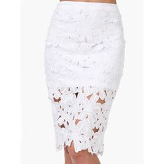 White Crochet Pencil Skirt ($13) ❤ liked on Polyvore featuring skirts, white, print skirt, white pencil skirt, going out skirts, crochet pencil skirt and pencil skirts