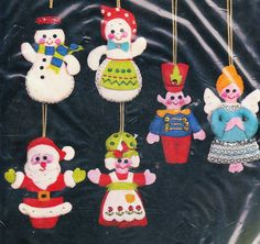 Bucilla 'Santa Friends' Jeweled Holiday Ornaments Christmas Felt Kit Set of 6 | eBay