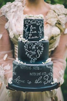 'It must be love' chalkboard wedding cake by Samantha Tempest - http://cakesdecor.com/cakes/206619-it-must-be-love-chalkboard-wedding-cake