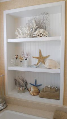 Sea Shells; love the built in beadboard shelves