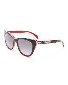 TED BAKER B574 Black Floral Print Cat Eye Sunglasses