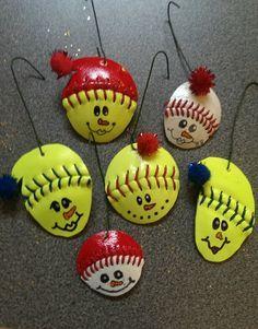 Softball / Baseball Snowman with Hat Ornament by 360Softball, $5.00