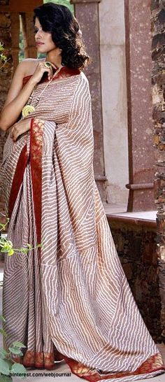 Pranavi Kapur Collection - Traditional hand-woven Banarasi silk featuring Bandhni/bandhej (tie and dye) print and a rich brocade border.