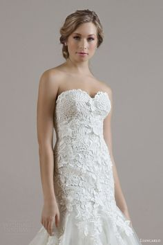 wedding dress style 6806 guipure lace on illusion tulle drop waist trumpet gown bodice close up