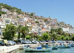 Harbor of Plomari village, Lesvos island, northeast Aegean sea, Greece Best Places To Eat, Greek Islands, Favorite Holiday, The Good Place, Greece, Dolores Park, Vacation, World, Landscapes
