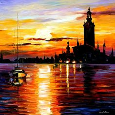 """Town on horizon"" by Leonid Afremov ___________________________ Click on the image to buy this painting ___________________________ #art #painting #afremov #wallart #walldecor #fineart #beautiful #homedecor #design"