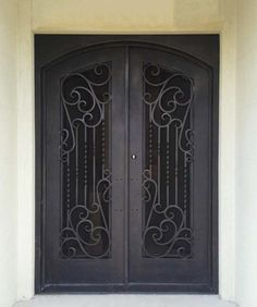 A unique wrought iron double door with an impressive winding scroll design. The finest in Melbourne wrought iron. Wrought Iron Security Doors, Wrought Iron Doors, Staircase Railings, Knobs And Knockers, Scroll Design, Double Doors, Entry Doors, Door Design, Melbourne