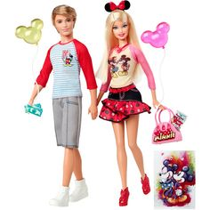 Barbie and Ken Love Disney Dolls. Is Ken holding a wad of cash? Lol!