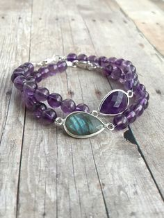 Amethyst Bead Bracelet / Faceted Gemstone Pear Focal / Natural Labradorite Jewelry / Purple Stone Bracelet Set
