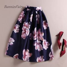 BunniesFairy New Vintage Style Female Retro Peach Blossom Flower Floral Print High Waist Plated Midi Skirt Tutu Falda Primavera