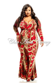 New Arrival: Long Dress with Front Wrap, Tie, and Slit in Red Snake Print   Available at: http://www.chicandcurvy.com/newarrivals/product/10787-new-plus-size-long-dress-with-front-wrap-tie-and-slit-in-red-snake-print-1x-2x-3x