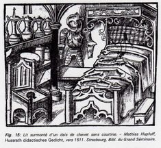Note the chaise percée with pot underneath. Were all the chairs depicted next to beds actually commodes? Medieval Furniture, 15th Century, Wolf, Woodworking, Vintage, Strasbourg, Inspiration, Armour, Beds