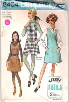 Vintage 60s Dress Pattern A Line Jumper Mini Pant Jumber Petite 32 1/2 bust size 10mp Simplicity 8404. $7.00, via Etsy.