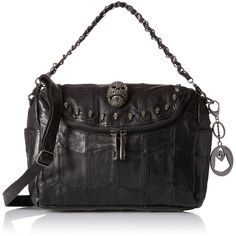MG Collection Gothic Skull Studded Lambskin Convertible Shoulder Bag ($42) ❤ liked on Polyvore featuring bags, handbags, shoulder bags, hobo shoulder bag, chain strap shoulder bag, hobo handbags, tote handbags and purse tote