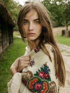 Balkan girl wearing a flowered shawl