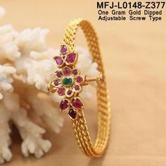 Beautiful one gram gold dipped bangle with adjustable screw type. Bangle studded with pink and green color stones. Bangle with flower design.Rs 950 plus shipping 07 November 2017 Plain Gold Bangles, Gold Bangles For Women, Ruby Bangles, Gold Bangles Design, Gold Earrings Designs, Gold Jewellery Design, Bangle Bracelets, Gold Jewelry Simple, Gold Dipped
