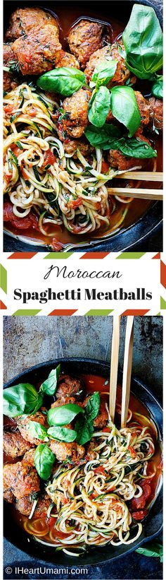 Moroccan Spaghetti Meatballs! Enjoy juicy and savory meatballs with healthy zucchini noodles in a slightly spicy tomato Harissa sauce. Paleo, Whole30, Keto friendly.