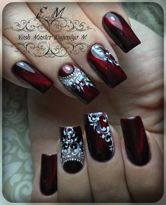 Elegant and Cute Acrylic Nail Designs, unique ideas for you to try in special day or event. Cute Acrylic Nails, Gel Nail Art, Acrylic Nail Designs, Nail Art Designs, Lace Nails, Flower Nails, Red Nails, Fabulous Nails, Gorgeous Nails
