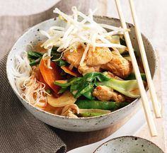 For this healthy chicken laksa we've halved the fat, cut the salt, lowered the calories and upped the veg. Result? A steaming bowl with 2 of your 5-a-day.