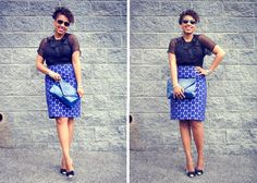 sheer black top, blue and white spotted skirt