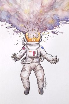 Astronaut Watercolor Print on - ART Watercolor Painting Space Watercolor, Space Painting, Watercolor Sketchbook, Watercolor Drawing, Watercolor Print, Watercolor Paintings, Watercolor Water, Painting Art, Art And Illustration