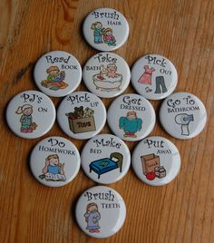 [CLOSEOUT DEAL] I have two sets of 10 chore magnets available at less than half the regular price. These are the last few left of the old style, heavy duty thicker magnets. They are girl/ neutral images. No substitutions   Brush Teeth Put Away Backpack Do Homework 2x Clean Bedroom Load/Empty Dishwasher Read Book Laundry Star Water Plants    [ABOUT MY MAGNETS] These magnets are metal and very sturdy. Unlike hollow construction type buttons, these will not bend or cave in. The front is covered…