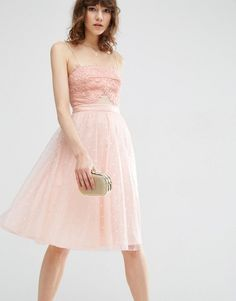 Buy ASOS Dobby Mesh Midi Lace Skater Dress at ASOS. Get the latest trends with ASOS now. Midi Skater Dress, Pink Midi Dress, Asos, Mesh Dress, Lace Dress, Dot Dress, Blush Cocktail Dress, Vestidos Color Rosa, Lace Camisole