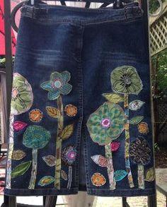 denim boho hippie jean skirt recycled patchwork embellished flowers by kari