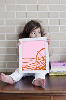 Really sweet tutorial on how to turn a young child's scribbles into DIY framed artwork. | Mandi Johnson for A Beautiful Mess