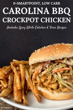 Perfect for meal prep, this Carolina BBQ Crockpot Shredded Chicken is super easy to make and goes great with sandwiches, salads, wraps, and more. Recipe includes a spicy white coleslaw recipe and air fryer smothered fries! Pulled Chicken Recipes, Bbq Pulled Pork Recipe, Healthy Chicken Recipes, Healthy Cooking, Chicken Dips, Slow Cooker Recipes, Crockpot Recipes, Smoker Recipes, Rib Recipes